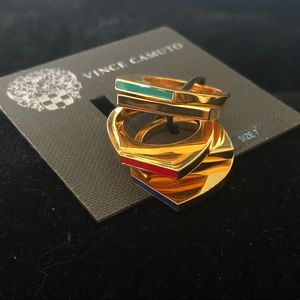 NWT Vince Camuto 5 Ring Set, Gold Chrome & Enamel